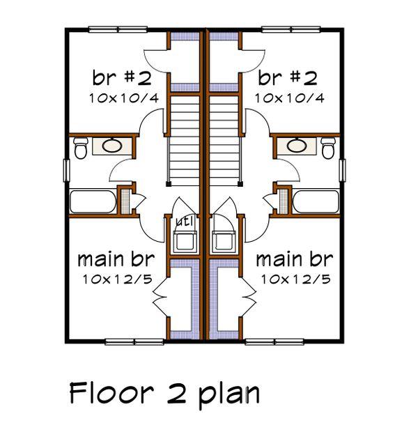 Southern Floor Plan - Upper Floor Plan Plan #79-276