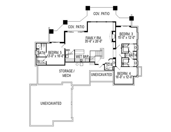 Craftsman Floor Plan - Lower Floor Plan #920-25