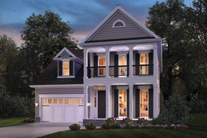 Colonial Exterior - Front Elevation Plan #48-648