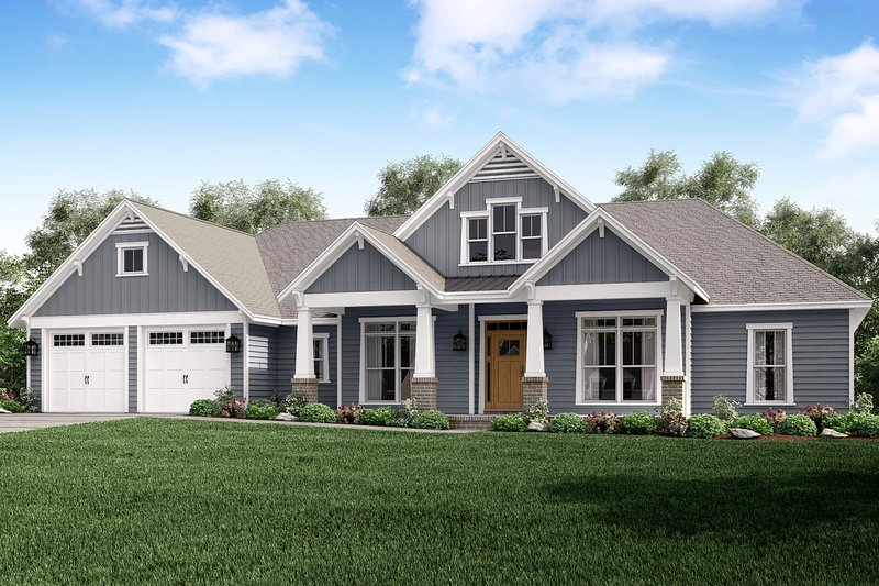 Craftsman Style House Plan - 4 Beds 3.5 Baths 2759 Sq/Ft Plan #430-158 Exterior - Front Elevation