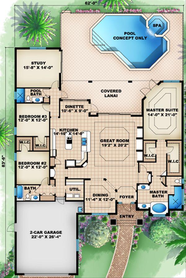 Mediterranean Floor Plan - Main Floor Plan Plan #27-441