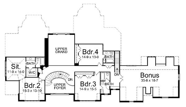 European Floor Plan - Upper Floor Plan #119-242