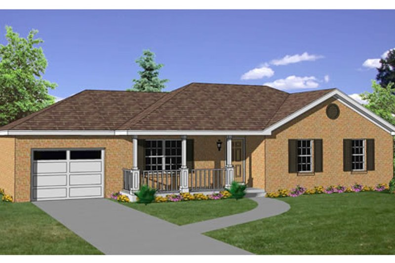 Ranch Style House Plan - 3 Beds 2 Baths 1200 Sq/Ft Plan #116-248 Exterior - Front Elevation