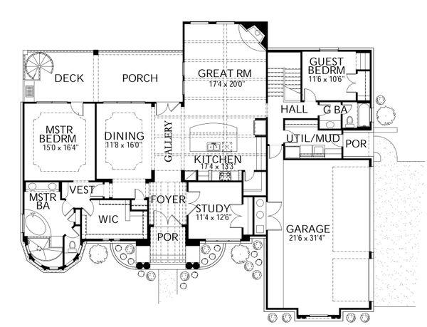 Mediterranean Floor Plan - Main Floor Plan Plan #80-209