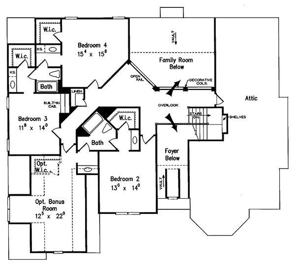 European Style House Plan - 5 Beds 4.5 Baths 3618 Sq/Ft Plan #927-27 Floor Plan - Upper Floor Plan