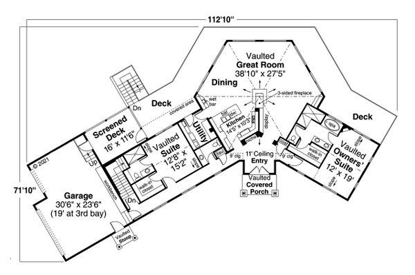 Architectural House Design - European Floor Plan - Main Floor Plan #124-1266