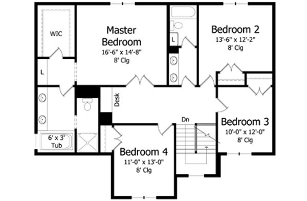 Traditional Floor Plan - Upper Floor Plan Plan #51-403