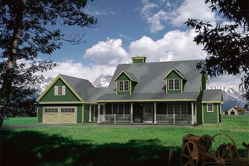 Country style home, farmhouse design, front elevation