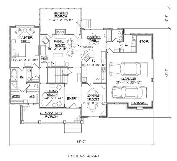 Farmhouse Floor Plan - Main Floor Plan Plan #1054-26