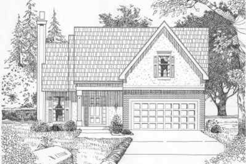 Traditional Style House Plan - 3 Beds 2.5 Baths 1485 Sq/Ft Plan #6-166 Exterior - Front Elevation