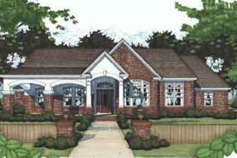 Southern Style House Plan - 3 Beds 3 Baths 2521 Sq/Ft Plan #120-110 Exterior - Front Elevation