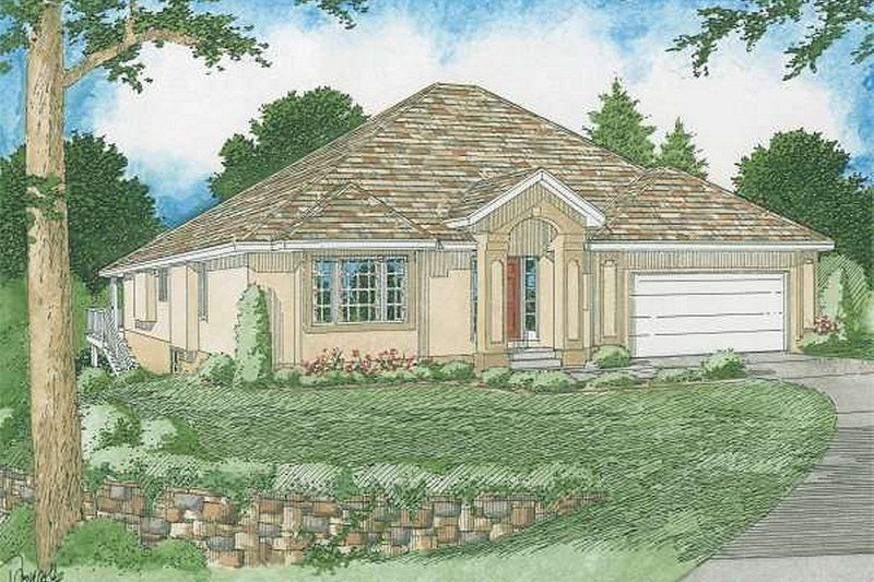 Dream House Plan - Mediterranean Exterior - Front Elevation Plan #126-229