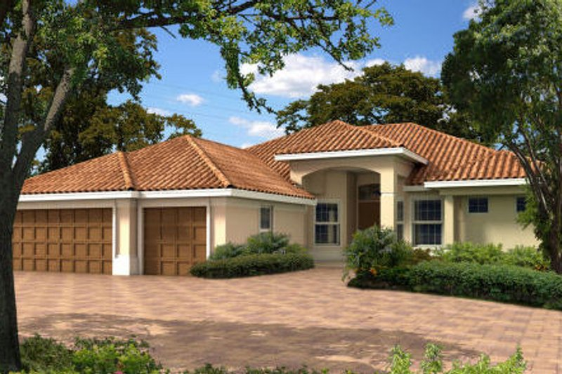 Mediterranean Style House Plan - 4 Beds 2.5 Baths 2859 Sq/Ft Plan #420-214 Exterior - Front Elevation