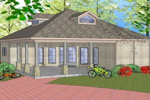 Southern Exterior - Front Elevation Plan #8-300