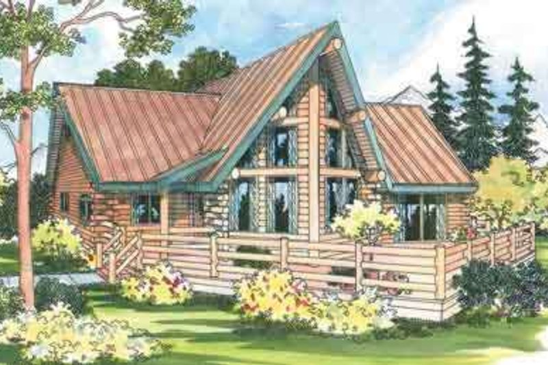 Cabin Style House Plan - 2 Beds 2 Baths 1390 Sq/Ft Plan #124-260 Exterior - Front Elevation
