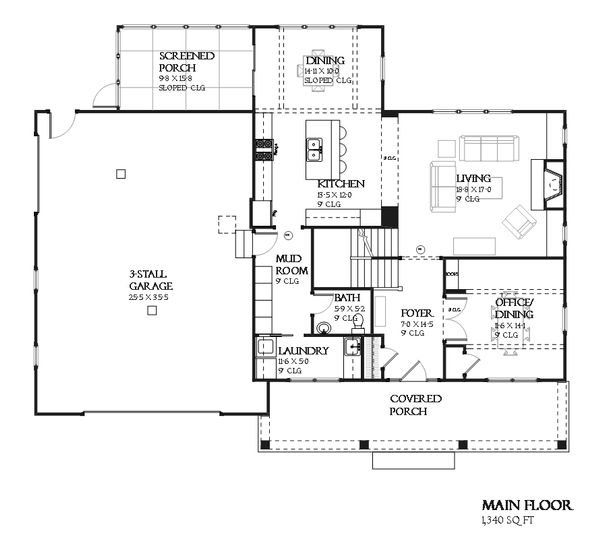 Architectural House Design - Craftsman Floor Plan - Main Floor Plan #901-123