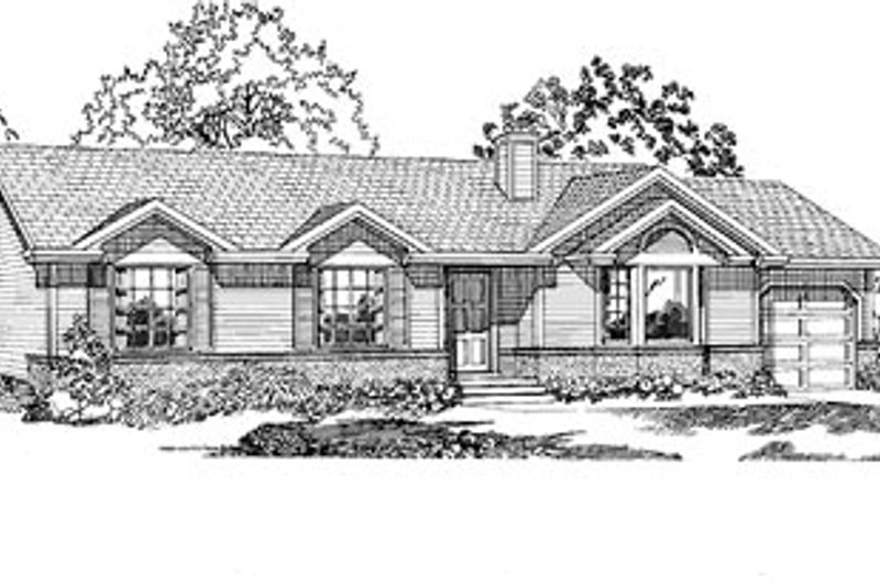 Ranch Style House Plan - 3 Beds 2 Baths 1489 Sq/Ft Plan #47-250 Exterior - Front Elevation