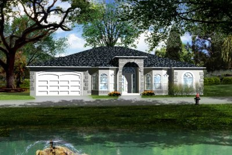Adobe / Southwestern Style House Plan - 4 Beds 3 Baths 2762 Sq/Ft Plan #1-674 Exterior - Front Elevation