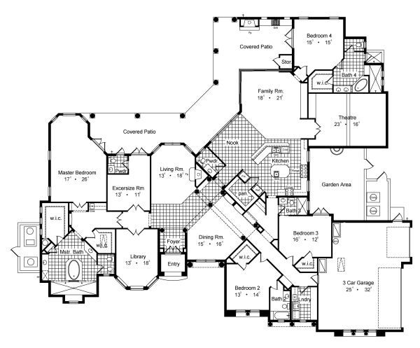 European Floor Plan - Main Floor Plan Plan #417-438