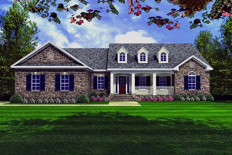 Country Exterior - Front Elevation Plan #21-130