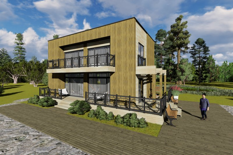 Modern Style House Plan - 3 Beds 2 Baths 1291 Sq/Ft Plan #549-2 Exterior - Front Elevation