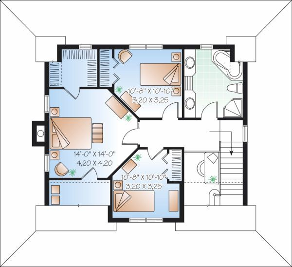 Traditional Floor Plan - Upper Floor Plan Plan #23-822