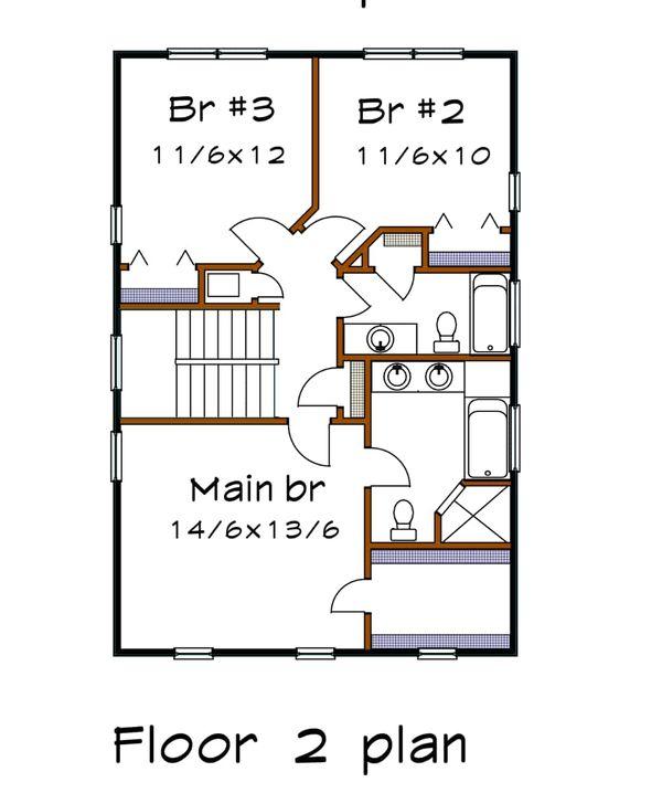 House Plan Design - Craftsman Floor Plan - Upper Floor Plan #79-305