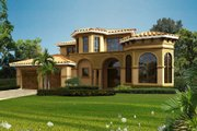 Mediterranean Style House Plan - 4 Beds 3.5 Baths 4020 Sq/Ft Plan #420-290 Exterior - Front Elevation