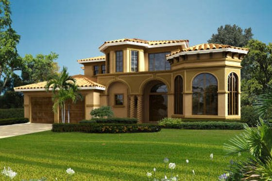 Mediterranean Exterior - Front Elevation Plan #420-290