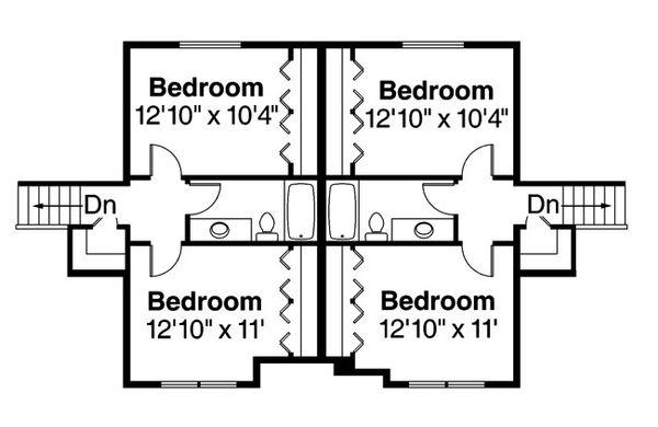 Craftsman Floor Plan - Upper Floor Plan Plan #124-889