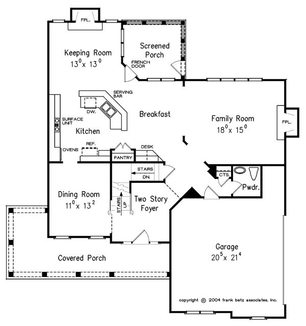 Craftsman Floor Plan - Main Floor Plan Plan #927-1