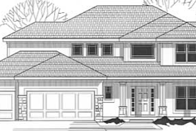 Modern Style House Plan - 4 Beds 3 Baths 2582 Sq/Ft Plan #67-731 Exterior - Front Elevation