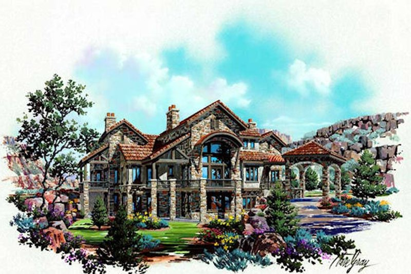 European Style House Plan - 4 Beds 4.5 Baths 4179 Sq/Ft Plan #5-343 Exterior - Front Elevation