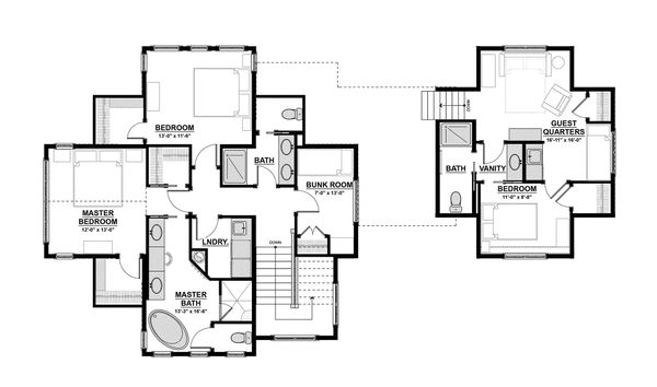 Traditional Floor Plan - Upper Floor Plan Plan #928-11