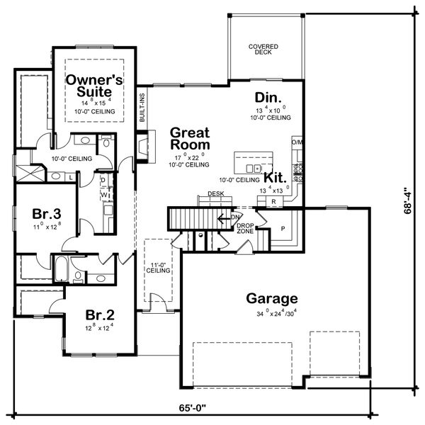 Contemporary Floor Plan - Main Floor Plan Plan #20-2357