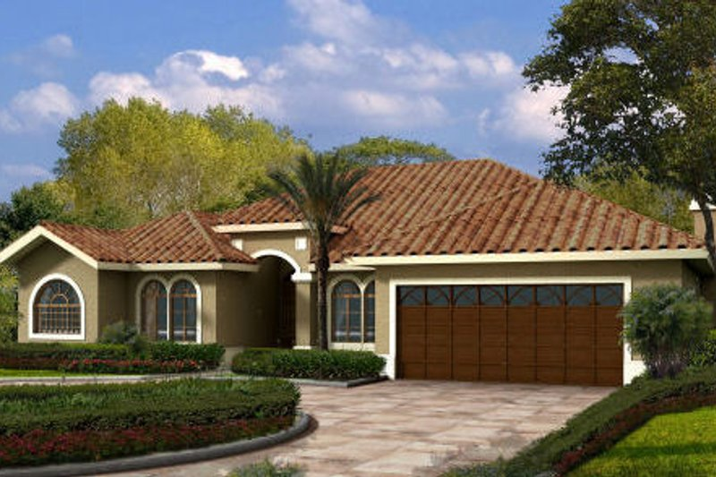 Mediterranean Style House Plan - 5 Beds 4 Baths 2763 Sq/Ft Plan #420-210 Exterior - Front Elevation