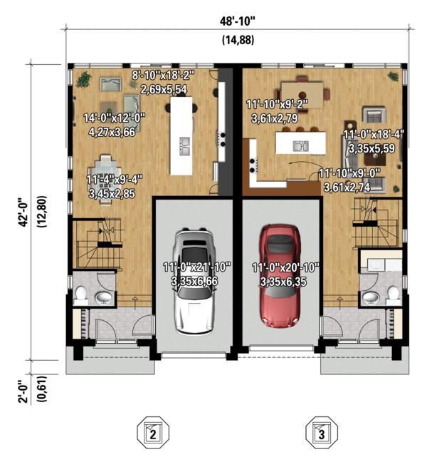 Contemporary Floor Plan - Main Floor Plan Plan #25-4396