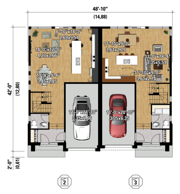 Contemporary Floor Plan - Main Floor Plan #25-4396