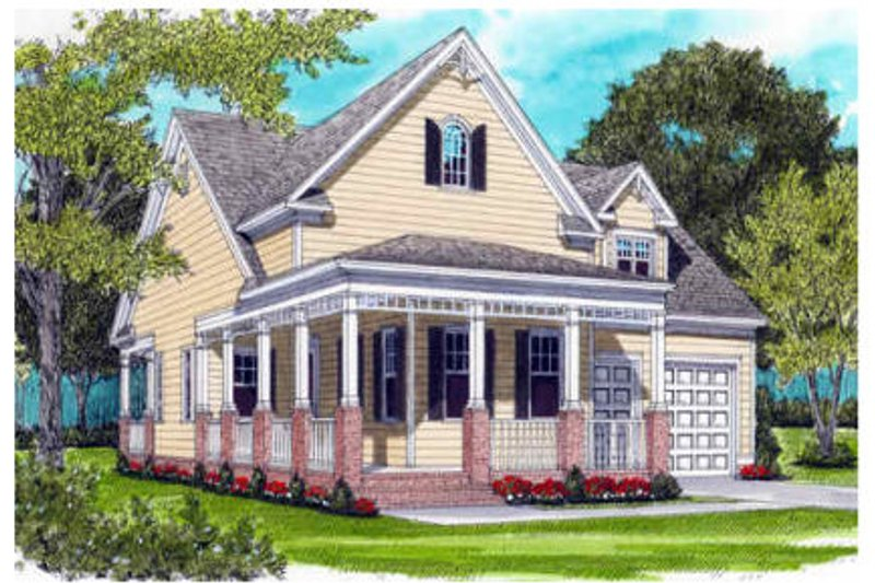 Victorian Style House Plan - 2 Beds 2 Baths 1958 Sq/Ft Plan #413-791 Exterior - Front Elevation