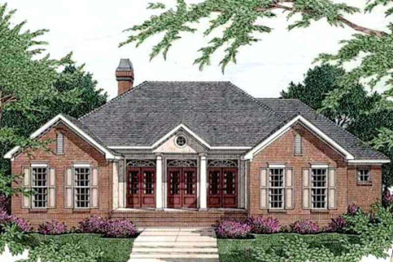 Southern Exterior - Front Elevation Plan #406-203 - Houseplans.com