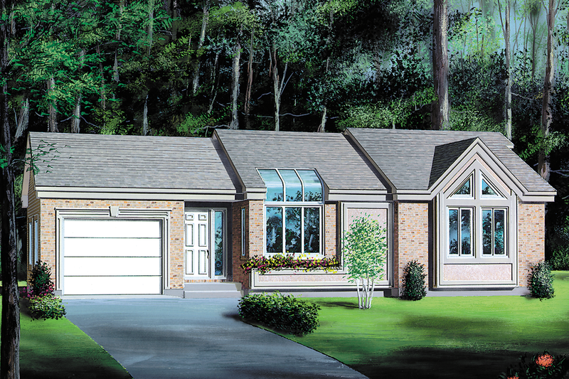 Contemporary Style House Plan - 2 Beds 1 Baths 898 Sq/Ft Plan #25-1094 Exterior - Front Elevation