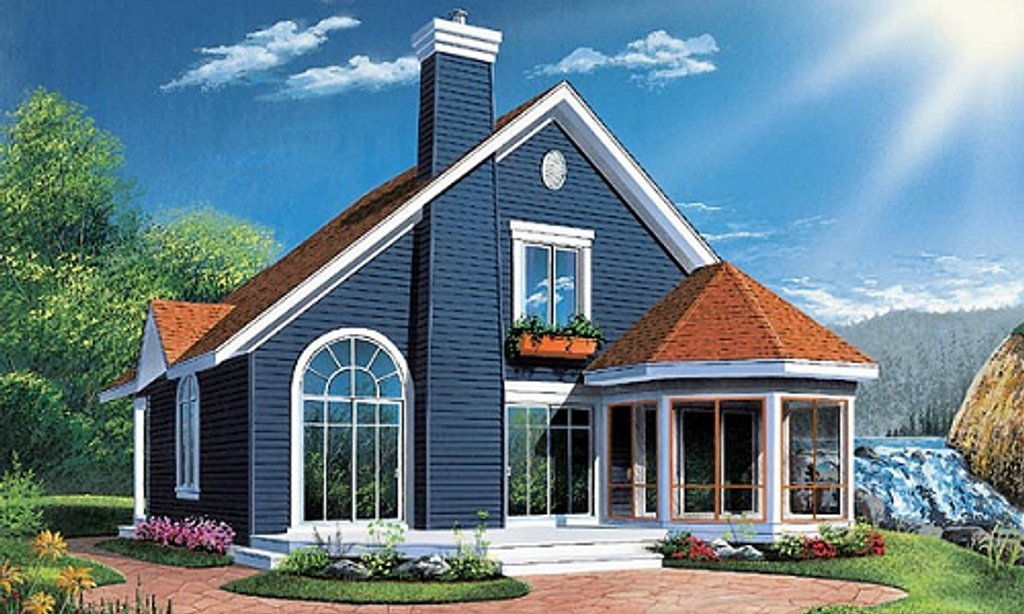 Country style house plan 3 beds 2 baths 1468 sq ft plan for Award winning narrow lot house plans