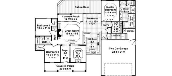 Country Floor Plan - Main Floor Plan Plan #21-372