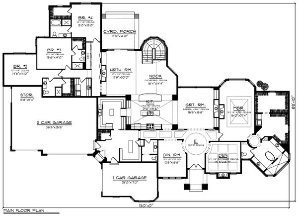 Ranch Floor Plan - Main Floor Plan Plan #70-1234