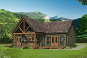 Cabin Style House Plan - 2 Beds 2 Baths 1357 Sq/Ft Plan #932-56 Exterior - Rear Elevation