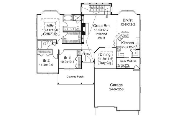 Ranch Floor Plan - Main Floor Plan Plan #57-667