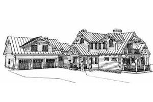 Log Exterior - Front Elevation Plan #451-16