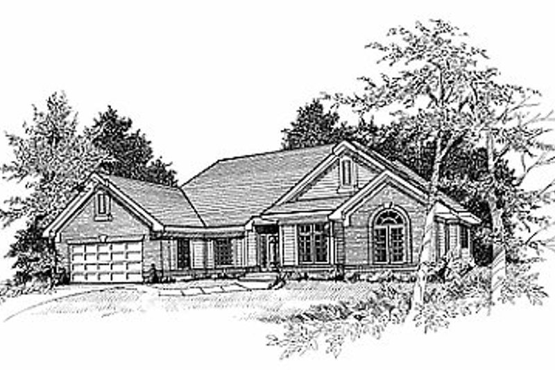 Traditional Style House Plan - 3 Beds 2 Baths 2153 Sq/Ft Plan #70-318 Exterior - Front Elevation