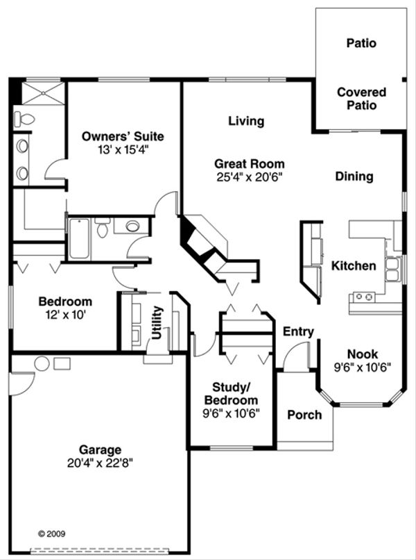 Ranch Floor Plan - Main Floor Plan Plan #124-468
