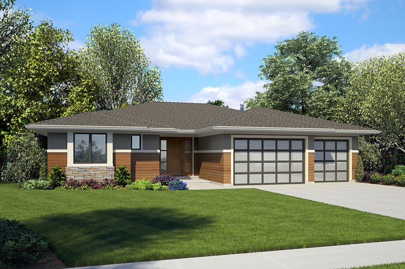 Ranch Style House Plan - 4 Beds 3 Baths 2374 Sq/Ft Plan #48-927 Exterior - Front Elevation